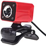 docooler USB 2.0 12 Megapixel HD Camera Web Cam with MIC Clip-on Night Vision 360 Degree for Desktop Skype Computer PC Laptop Red Shell