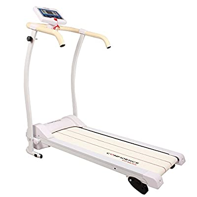 Confidence Power Trac Pro Motorized Electric Folding Treadmill Running Machine White with 3 Manual Incline Settings