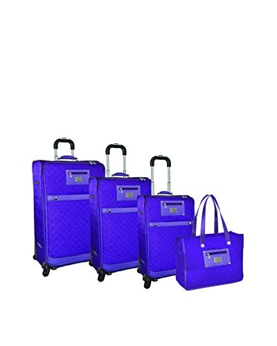 Adrienne Vittadini Quilted Nylon 4-Piece Luggage Set, Purple