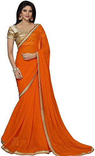 shiroya brothers georgette heviy border less unstitched blouse sarees