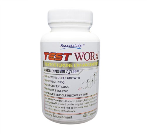 TestWORx Testosterone Supplement Testosterone Booster Supplement TEST WORx - 6 Week Cycle - 100% Made in the USA! Ingredients clinically proven in HUMAN trials to raise testosterone levels by 70-132%. Read More Below...