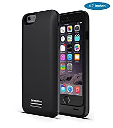 iPhone 6 Battery Case, [Apple MFI certified] Nexcon® iPhone 6 Battery Case (4.7 Inches) - 3100mAh External Protective iPhone 6 Charger Case / iPhone 6 Charging Case Extended Backup Battery Pack Cover Case Fit with Any Version of Apple iPhone 6 (iPhone 6 Battery Pack / iPhone 6 Power Case / iPhone 6 USB Juice Bank / iPhone 6 Battery Charger) (Black For iPhone 6)