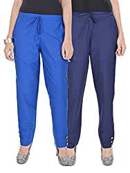 Kalrav Solid Blue and Indigo Blue Cotton Pant Combo
