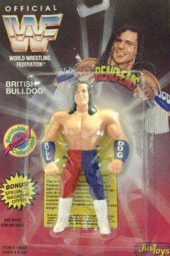 WWF WWE Jakks Bendems BRITISH BULLDOG Wrestling Figure 1995