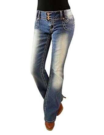 Angels Junior's Three Button Fashion Medium Wash Boot Cut Jeans, 3 Blue