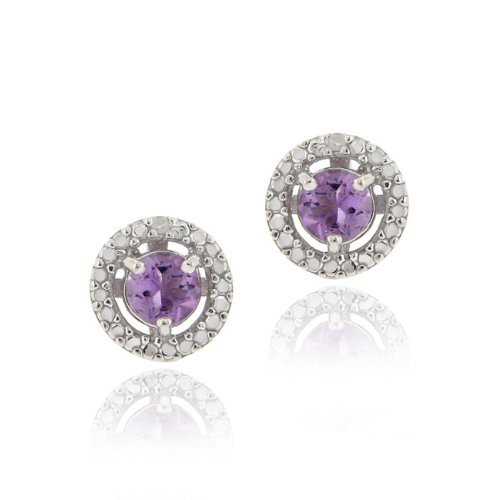 Sterling Silver Amethyst & Diamond Accent Stud Earrings