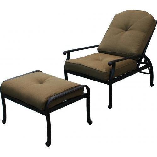 Darlee Elisabeth Adjustable Cast Aluminum Outdoor Patio Deep Seating Club  Chair & Ottoman With Cushions - - Darlee Elisabeth Adjustable Cast Aluminum Outdoor Patio Deep