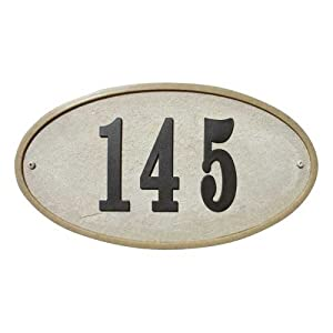 Qualarc RIG-4911 Ridgestone Oval Address Plaque System, Sandstone