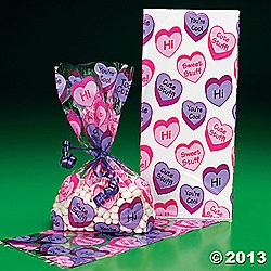 12 VALENTINE Conversation HEART PARTY Favor Cellophane GOODY Bags/CELLO Gift/LOOT BAGS for VALENTINE'S DAY Parties/FAVOR/COOKIES/SWEETS/Dozen