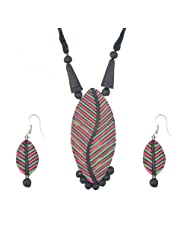 "ARTWOOD ""Leaf Of Life"" In Pink/Green 3-piece TerraCotta Jewellery Set"