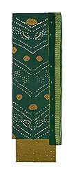 Bandhej Mart Women's Cotton Salwar Suit Material (Green and Brown)
