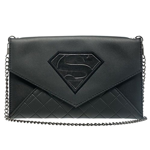 DC Comics Superman Quilted Gray Black Envelope Wallet Purse Costume Accessory