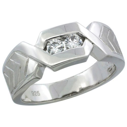 Sterling Silver Diamond Simulant 7.5mm Mens Wedding Band Chevron Pattern