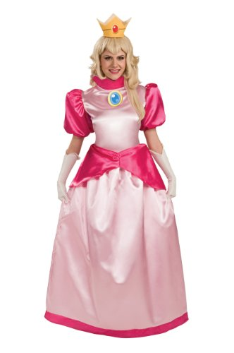 [Super Mario Brothers Deluxe Princess Peach Costume, Pink, Small] (Princess Peach Costumes Women)