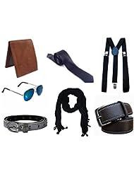Krystle 7 Pieces Exclusive Combo Of Men's Belt, Wallet, Suspender, Sunglasses, Narrow Tie, Women' Belt