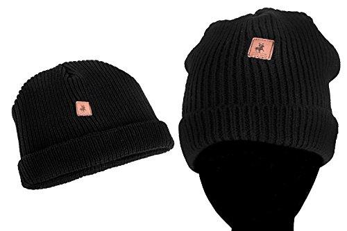 Cappello uomo HARVEY MILLER POLO CLUB nero cuffia con risvolto L1011