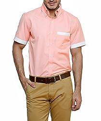 Dazzio Men's Slim Fit Cotton Casual Shirt (DZSH0909_Peach_42)