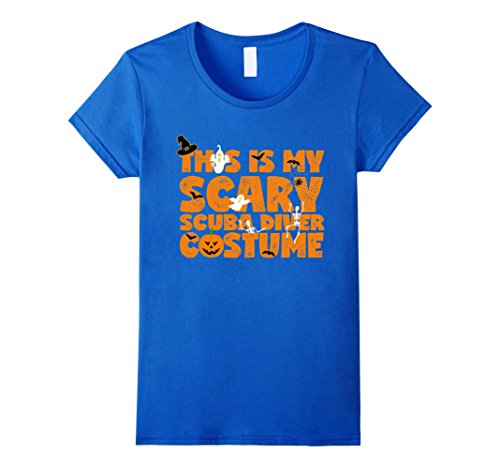 [Women's This is My Scary Scuba Diver Costume. Halloween Tshirt Small Royal Blue] (Scuba Diver Halloween Costume Women)