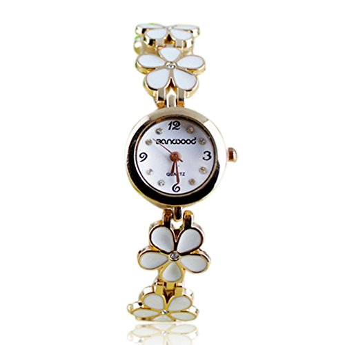 women-girl-chic-fashion-daisies-flower-rose-golden-bracelet-wrist-watches-white