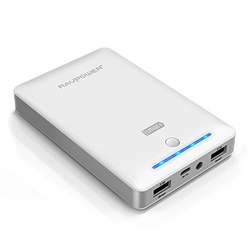 RAVPower Deluxe External Battery CHARGER 13000mAh Portable Power Bank Pack for iPhone 5S,5C,5 (Lightning Cable not included), 4S, 4, iPad Air, iPad 4, 3, 2, Mini 2, Mini, iPods; Samsung Galaxy S4, S3, S2, Note 3 Note 2; Nexus 7, Nexus 5, Nexus 4; HTC One, EVO, Thunderbolt, Incredible, Droid DNA; Motorola ATRIX, Droid; LG Optimus [Prenium Samsung Batteries, Matte Finish, 2 mobile phone connectors] - Black (White)