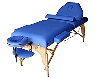 """Blue 77"""" Long 30"""" Wide 4"""" Pad Reiki Portable Massage Table with Free Half Bolster and Carry Case"""