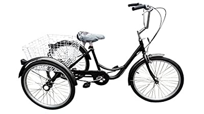 """Ultimate Hardware Freedom Adults 20"""" Wheel 6 Speed Cargo Trike Tricycle Black"""