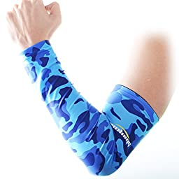 COOLOMG Youth Anti-Slip Arm Sleeves Cover Skin UV Protection Sports Adult, Camouflage/Blue, Medium