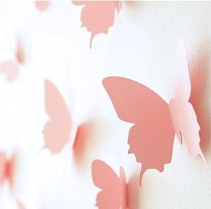 Walplus 3D Butterfly Wall Stickers, Pink