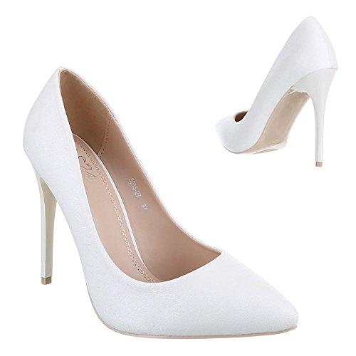 Ital-Design - Scarpe con Tacco Donna , Bianco (bianco), 36