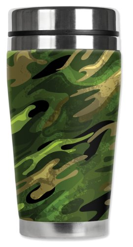 Mugzie® Brand 16-Ounce Travel Mug With Insulated Wetsuit Cover - Green Camouflage