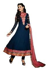 Fabdeal Viscose Georgette Embroidered Semi-Stitched Salwar Suit ( FJQ2DR81TPDT_Blue )