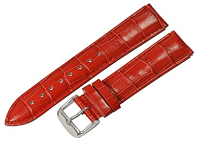 Clockwork Synergy® - 20mm x 18mm - Red Croco Grain Leather Watch Band fits Philip stein Large