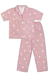 GreenApple Girls Organic Cotton Stars & Stripes Pyjama Set (FVGA041, Red, 7-8 Years)