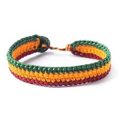 81stgeneration Men's Women's Cotton Rasta Style Jamaican Bob Marley Wristband Bracelet, 19 cm