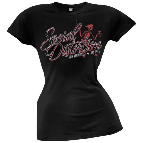 Social Distortion - Skelly Script Juniors T-shirt - Medium Nero