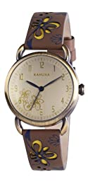 Kahuna Women's Quartz Watch with Gold Dial Analogue Display and Brown Leather Strap KLS-0248L