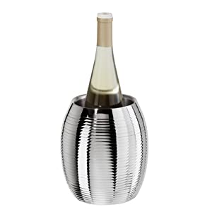 Oggi 7223 Polished Stainless Steel Mirrored Finish Double Walled Wine Cooler with Ribbed Accents
