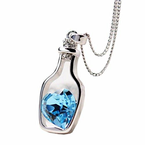Collana Donna, DDLBiz Donna moda amore popolare Drift bottiglie di cristallo lunga collana (blu)