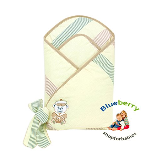 Blueberry Shop Premium Collection Swaddle Wrap Blanket Gift Present Cream Seaman - 1