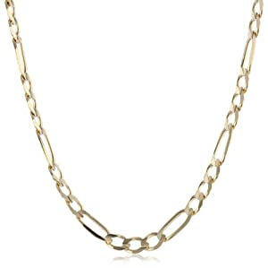 Men's 14k Yellow Gold 4.6mm Italian Figaro Chain Necklace, 20
