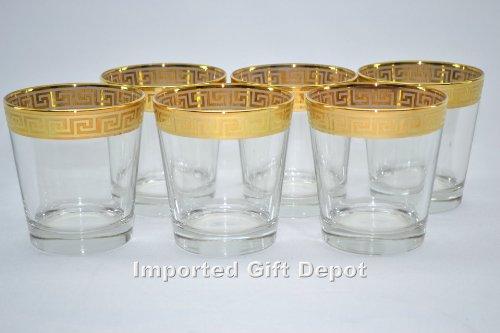 Italian Double Old Fashion Glass 14 Karat Gold