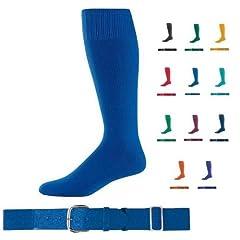 Buy Baseball Softball Belt & Sock Combo (Youth & Adult Sizes in 11 Color Sets) by Sock/Belt Set Augusta Sportswear