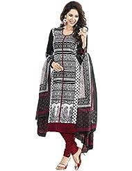 Shiroya Brothers Womens Cotton Unstitched Salwar Suit Dress Material (SB_DM_BLACK_510_Black)