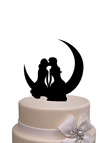 Same Sex, Lesbian Kissing on the Moon Wedding Mrs and Mrs wedding cake topper (Please Make Me Lesbian compare prices)