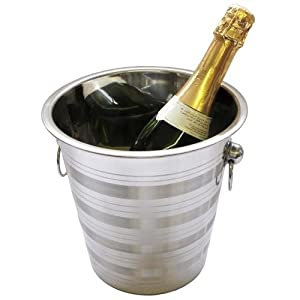 Champagne Ice Bucket - S.Steel - Banded Design from Crystal Edge Ltd