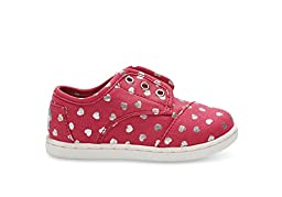 Toms Youth Paseos Sneakers Fuchsia Canvas Hearts 11 M US Little Kid