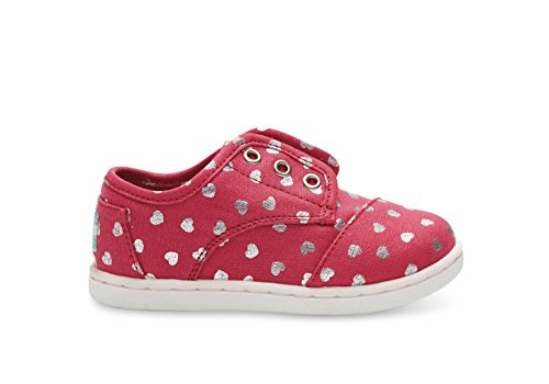 Toms Youth Paseos Sneakers Fuchsia Canvas Hearts 9 M US Toddler