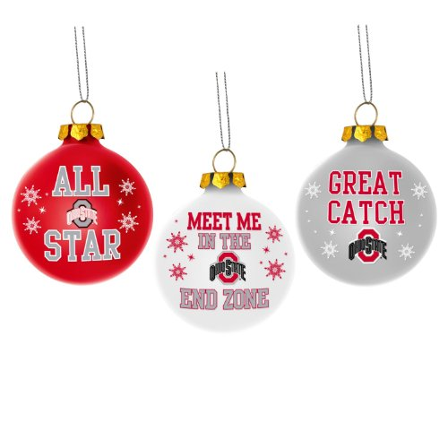 Ohio State Buckeyes Ncaa 3 Pack Glass Ball Slogan Christmas Ornament Set