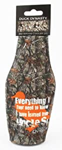 Duck Dynasty Officially Licensed Beer Can or Bottle Cooler Koozie - Several Styles Available - Uncle Si Phil (Bottle - Camo - Everything I Know I Learned From Uncle Si)