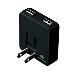 PLANEX 2ポート USB-AC充電アダプタ PSP/DS/DSLite/DSi ゲーム機対応 ブラック PL-WUCHG01-BG